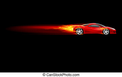 Sport Hot Car - Red Sport Car Burnout design Illustration on...