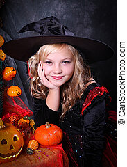 Halloween - Girl with a Halloween pumpkin