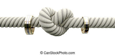 Tie The Knot With Wedding Rings - A coarse rope with a knot...