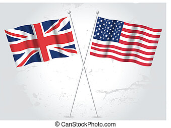 USA and Great Britain flag waving