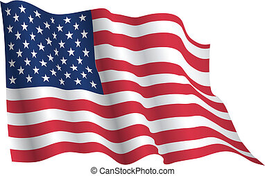 USA flag waving realistic