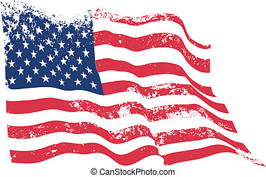 USA flag grunge waving