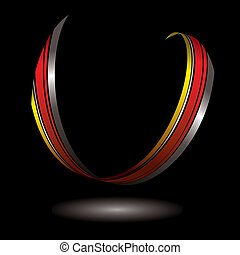 horseshoe ribbon - single piece of ribbon floating with its...