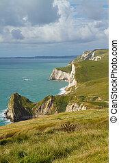 Durdle Door coastline Dorset - The South-West coastal path...