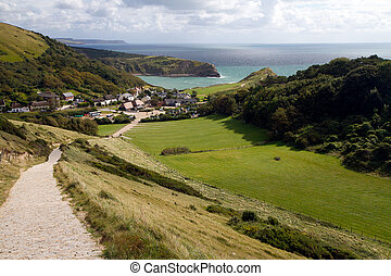 Lulworth Cove view - South-West coastal path from Lulworth...
