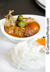 red curry - Red curry with roast duck served with rice...