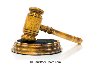 gavel close up on white background - gavel on white...