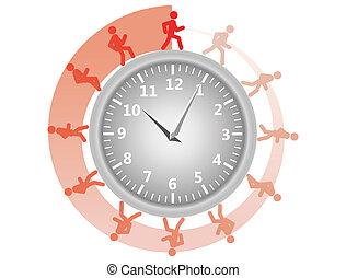 man running around the clock