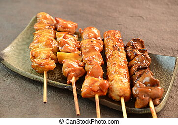Char-broiled chicken called yakitori This is a traditional...
