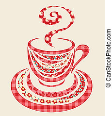 パッチワーク, コーヒー, カップ