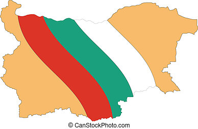 Map and Flag of Bulgaria Vector EPS