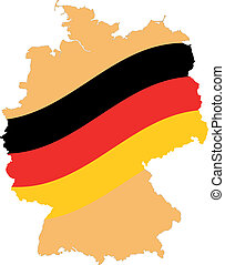 Map and Flag of Germany Vector EPS