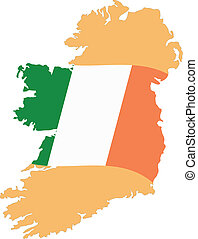 Map and Flag of Ireland Vector EPS