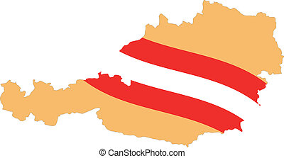 Map and Flag of Austria Vector EPS