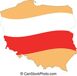 Map and Flag of Poland Vector EPS