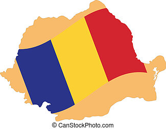 Map and Flag of Romania Vector EPS