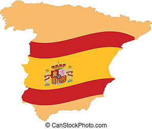Map and Flag of Spain Vector EPS