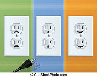 Power Outlet Emotions - Happy and Sad Receptacles