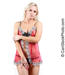 very beautiful woman dressed in a pink lingerie set - a very...