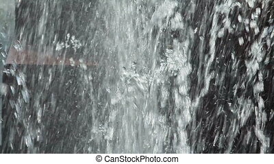Close view of fountain water jets