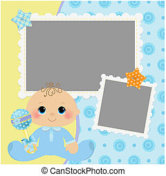 Blank template for greetings card or photo frame in blue...