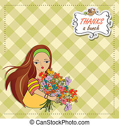 young girl with a bunch of flowers