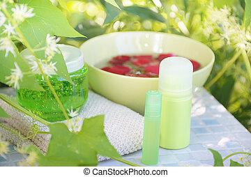 set for spa in summer garden