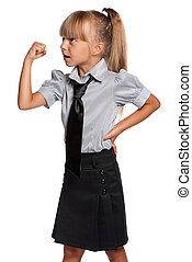 Little girl in school uniform - Portrait of emotional little...