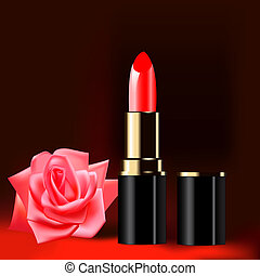background with red lipstick and a rose