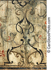Baroque Ornament - a baroque ornament painted on wood