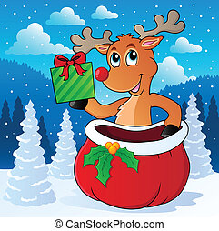 Reindeer theme image 7 - vector illustration