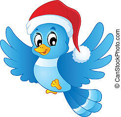 Blue bird in Christmas hat - vector illustration.