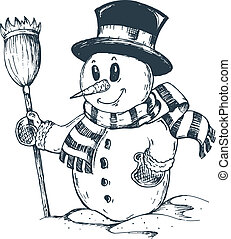 Winter snowman theme drawing 1 - vector illustration.