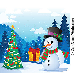 Winter snowman theme image 5 - vector illustration.
