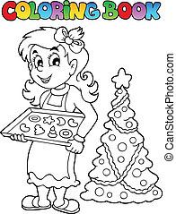 Coloring book Christmas topic 9 - vector illustration.