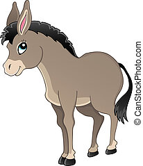 Donkey theme image 1 - vector illustration.