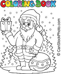 Coloring book Santa Claus topic 6 - vector illustration.