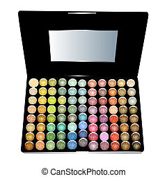 of cosmetics for eyes large set of eye shadows