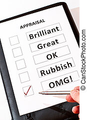 Fun appraisal form - A fun performance appraisal form with...