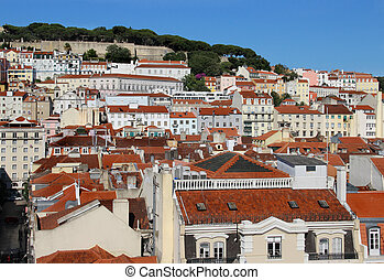 Lisbon roofs - Lisbon panorama, Portugal buildings, roofs,...