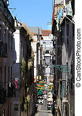 Lisbon typical street - Beautiful view of Lisbon typical...