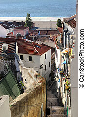 Lisbon street and typical Alfama houses - Beautiful view of...