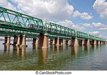 A train passing Hangang bridge - View of Hangang railway...