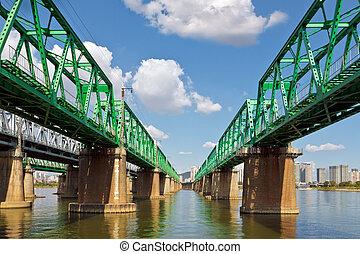 Hangang railway bridge over Han river in Seoul