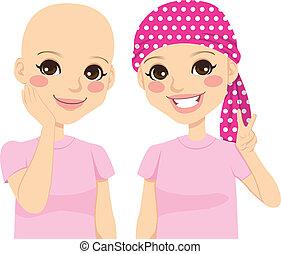 joven, niña, con, cáncer