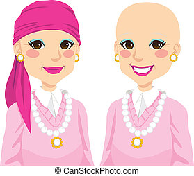 Senior Woman With Cancer - Senior woman happy smiling and...