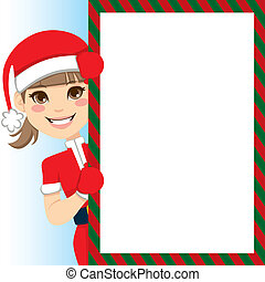 Santa Claus Girl - Pretty Santa Claus Girl peeking out of...