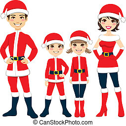 Santa Claus Family - Illustration of happy family...