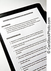Job Description form - Job Description document on black...