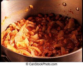 FOOD sprinkling salt on bean soup - Sprinkling salt on bean...
